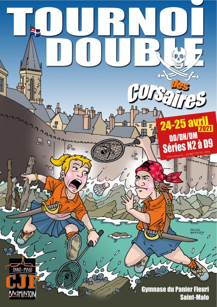 Affiche du tournoi double des corsaires 2021