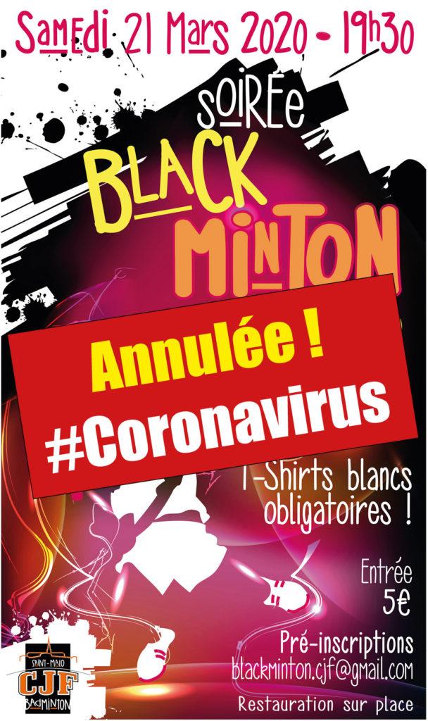 Affiche annulation Soirée Blackminton du 21 mars 2020